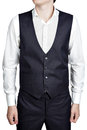 Deep blue masculine plaid waistcoat suit, isolated over white ba