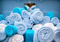 Deep blue Pile of towels Royalty Free Stock Photography
