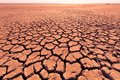 Deep cracks in the red land as a symbol of hot climate and drought Royalty Free Stock Photo