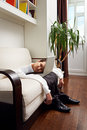 A deep dejection fell upon him deflated man with laptop Royalty Free Stock Photos