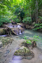 Deep forest waterfall (Erawan Waterfall) Stock Photo
