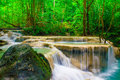 Deep forest waterfall at erawan waterfall national park kanjanab kanjanaburi thailand Royalty Free Stock Photography