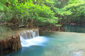 Deep forest waterfall in kanchanaburi huay mae kamin thailand Royalty Free Stock Images