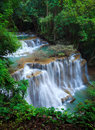 Deep forest Waterfall, Kanchanaburi, Thailand Stock Photo