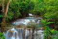 Deep forest Waterfall, Kanchanaburi, Thailand Royalty Free Stock Photos