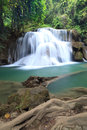 Deep forest waterfall in kanchanaburi thailand Stock Photo