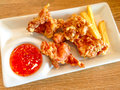 Deep fried chicken and french serve with chilli sweet dipping Royalty Free Stock Image