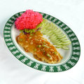 Deep fried dolly fish with three flavored chinese cuisine Stock Images