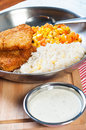 Deep fried dory fish with corn and carrots and tartar sauce Stock Image