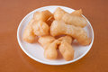 Deep fried dough on background Royalty Free Stock Images