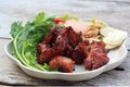 Deep fried fermented pork rib thai northeastern food Stock Image