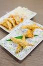 Deep fried fish and gyoza dumpling set japanese style food Stock Image