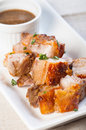 Deep fried pork belly with liver sauce also known as lechon kawali Royalty Free Stock Photography