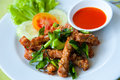 Deep fried pork and chili sauce Stock Photo