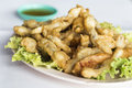 Deep fried razor clam with powder thai Stock Photo