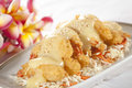 Deep fried shrimp tempura with mayonnaise in dish Stock Image