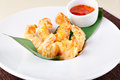 Deep fried shrimps and sauce Royalty Free Stock Images