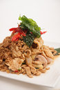 Deep fried soft shell carb and chicken basil stir fried special menu from thai cuisine Stock Photo