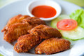 Deep fried spicy chicken wing with sauce Royalty Free Stock Photo