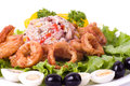 Deep fried squid rings Royalty Free Stock Photography