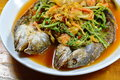 Deep fried striped snake head fish in mixed hot and sour soup on dish white Royalty Free Stock Photography