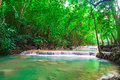 Deep jungle forest waterfall in kanchanaburi thailand nature peace Stock Images