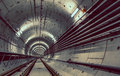 Deep metro tunnel under construction Stock Images