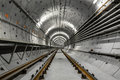 Deep metro tunnel under construction Royalty Free Stock Photo