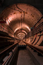 Deep metro tunnel under construction Royalty Free Stock Photos