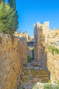 The deep moat of king david s citadel with small bridge connecting it with gate jerusalem israel Royalty Free Stock Images