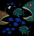 Deep monsters fishes background with Stock Image