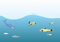 Deep ocean life illustration inhabitants Stock Image