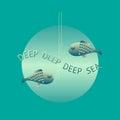 Deep sea card. Vector illustration.