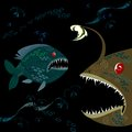 Deep sea fish background with monsters fishes Royalty Free Stock Images
