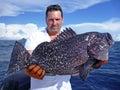 Deep sea fishing. grouper fish Royalty Free Stock Photo