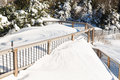 Deep snow in drifts on deck in back yard cover and railings modern house after blizzard of january north eastern usa Stock Photos