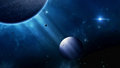 Deep space with planets stars nebula imaginary blue background Stock Images