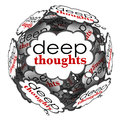 Deep thoughts profound important ideas cloud sphere words in bubbles to illustrate and creative to generate a solution to a Royalty Free Stock Image
