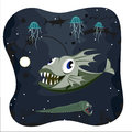 Deep water angler fish on dark background with marine life