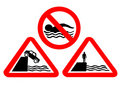 Deep water hazard signs Royalty Free Stock Photo