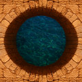 Deep water old stone well with a top view Royalty Free Stock Photos