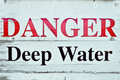 Deep water sign indicating danger from Stock Image