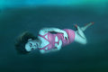 Deep water woman beautiful adrift underwater art concept image Stock Photo