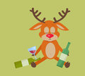 Deer with Bottle of Wine Isolated on Green.