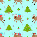 Deer cartoon christmas tree seamless pattern
