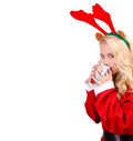 Deer costume girl fashionable wears on isolated background at christmas Stock Image