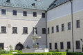 The deer in the courtyard of castle Cerveny Kamen, Slovakia Royalty Free Stock Photo