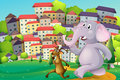 A deer and an elephant running at the hilltop across the tall bu illustration of buildings Stock Images