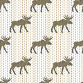 Deer gold christmas vector seamless pattern with