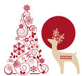 Deer and graphic christmas tree Royalty Free Stock Photo